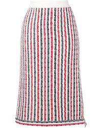 Thom Browne White Cotton Skirt