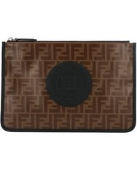 Fendi Brown Polyester Pouch