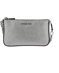 Michael Kors Silver Leather Clutch - Metallic