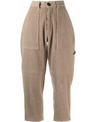 AMI Pantaloni a coste crop - Marrone