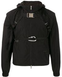 HELIOT EMIL Bucked Straps Hooded Jacket - Black