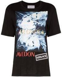 Versace Round Neck Cotton T-shirt With Donatella Print - Black