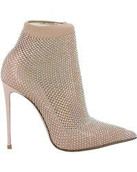 Le Silla Beige Glitter Ankle Boots - Natural