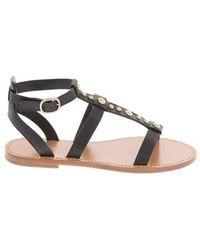 Celine Leather Sandals - Black
