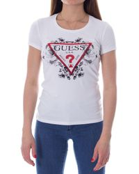 Guess White Cotton T-shirt