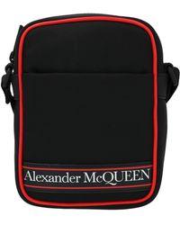 Alexander McQueen Kuriertasche mit Logo-Print - Schwarz