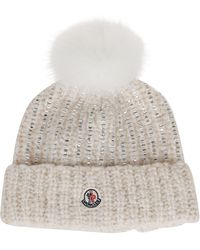 Moncler Fur Embellished Beanie - White