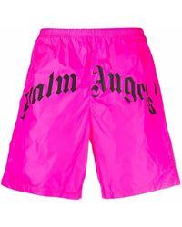 Palm Angels Badeshorts mit Logo - Pink
