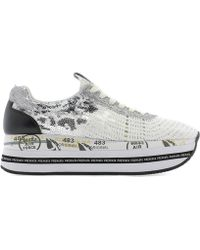 Premiata - Silver Leather Sneakers - Lyst