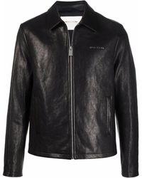 1017 ALYX 9SM Leone Logo-lettered Zip-front Leather Jacket - Black
