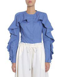 Sara Battaglia Ruffled Cotton Poplin Blouse - Blue