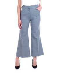 Moncler Light Blue And Black Cropped Trousers With Houndstooth Pattern