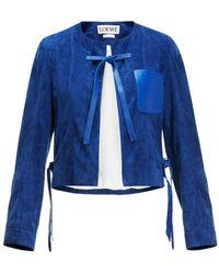 Loewe - Blue Leather Jacket - Lyst