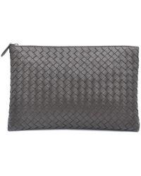 Bottega Veneta Grey Leather Pouch - Gray