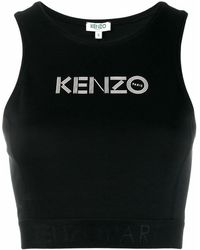 KENZO - Top cropped in cotone stretch - Lyst