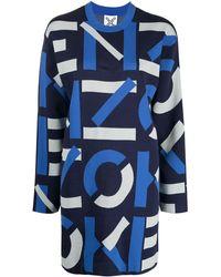KENZO Strickkleid mit Intarsien-Muster - Blau