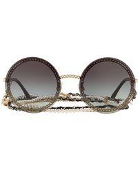 Chanel Grey Metal Sunglasses - Gray