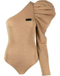 Gcds Lurex One-shoulder Bodysuit - Metallic