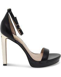 Guess Luxury Fashion Donna FL6EIYLEA03BLACK Nero Pelle Sandali   Primavera-Estate 20