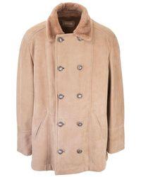 Brunello Cucinelli Beige Leather Coat - Natural