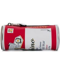 Moschino Clutch in pelle stampa Budweiser - Rosso