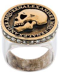 Alexander McQueen Gold Metal Ring - Metallic