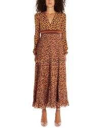 Saloni Silk Dress - Brown