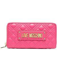 Love Moschino Portemonnaie mit Logo-Schild - Lila
