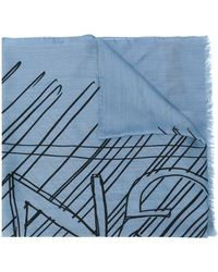 Z Zegna Wool Scarf - Blue
