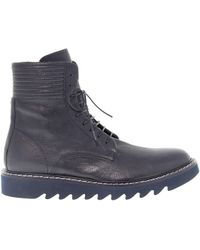 Cesare Paciotti Blue Leather Ankle Boots