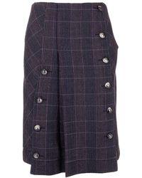 Chloé Checked Pleated Skirt - Blue