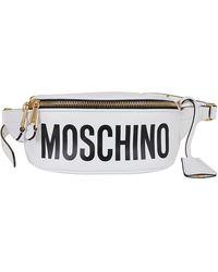 Moschino White Leather Belt Bag
