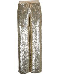 P.A.R.O.S.H. Gold Viscose Trousers - Metallic
