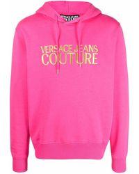 Versace Jeans Couture Hoodie mit Logo-Stickerei - Pink