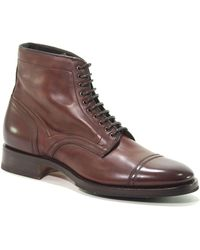 Santoni Burgundy Leather Ankle Boots - Brown
