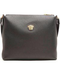 Versace Black Leather Messenger Bag
