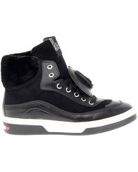 Love Moschino Leather Hi Top Sneakers - Black