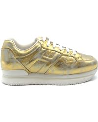 Hogan - Gold Leather Sneakers - Lyst