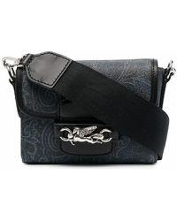 Etro Paisley-print Leather Shoulder Bag - Blue