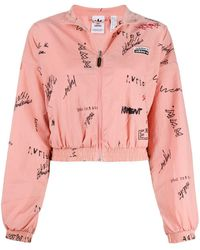 adidas Polyester Outerwear Jacket - Pink