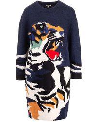 KENZO 'tiger Head' Jumper Dress - Blue