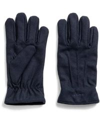 GANT Blue Wool Gloves