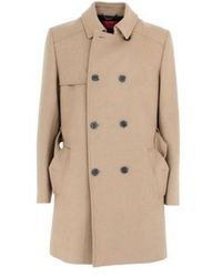BOSS Beige Wool Coat - Natural