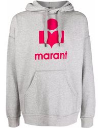 Isabel Marant Mansel Hoodie mit geflocktem Logo - Grau