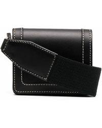 AMI Leather Messenger Bag - Black