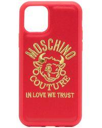 Moschino Cover per iPhone 11 Pro con logo - Rosso