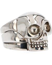 Alexander McQueen Silver Metal Ring - Metallic
