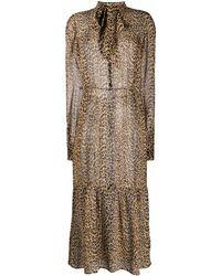 Saint Laurent Seidenkleid mit Leoparden-Print - Mehrfarbig