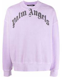 Palm Angels Sweatshirt mit Gothic-Logo - Lila