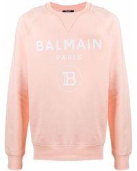 Balmain Sweatshirt mit Logo-Print - Orange